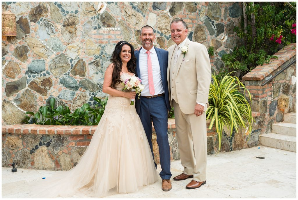 villa wedding with bride and groom and wedding officiant