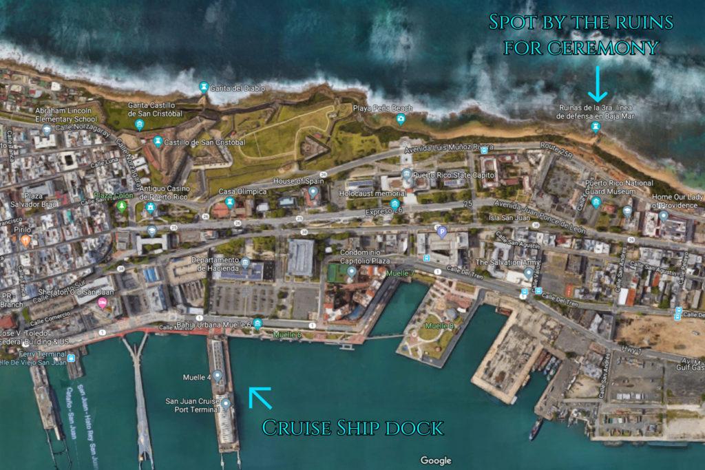 map of wedding spot on playa pena beach