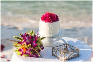 wedding cake on the beach