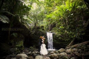 bride and groom by waterfall in el yunque rain forest